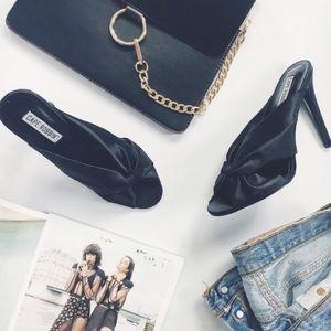 Shoes - 🆕 Lesley Black Satin Bow Stiletto Heel Mules